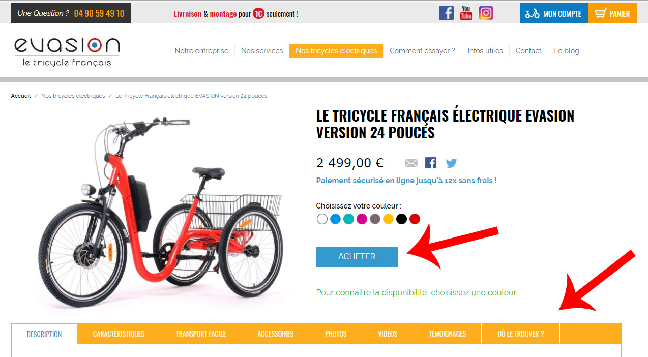 Acheter un tricycle adulte Evasion